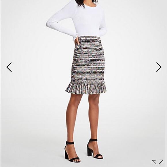55fe272f1e Ann Taylor Skirts | Mixed Tweed Ruffle Skirt | Poshmark